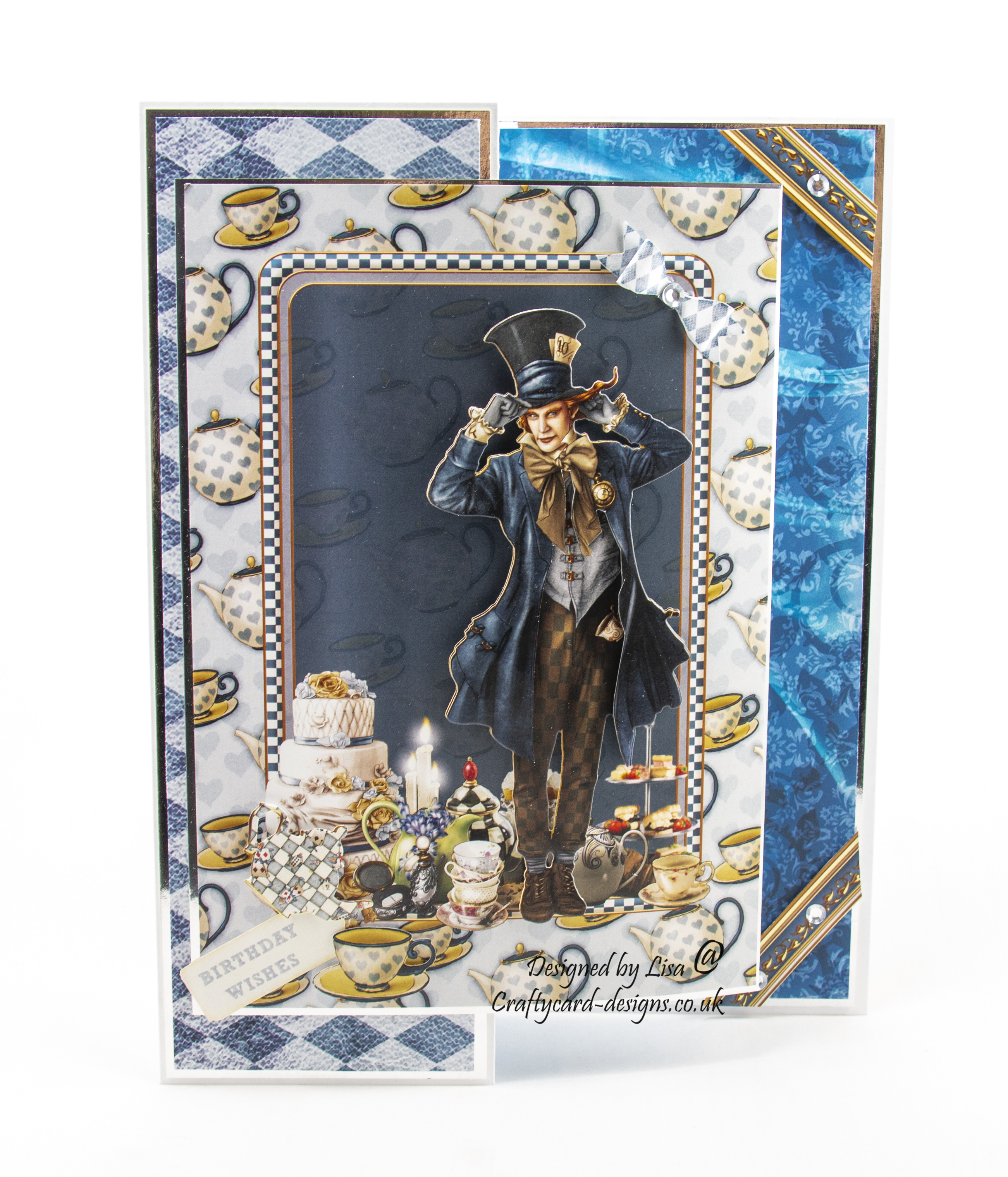 Handmade card using Journey To Wonderland match it cd-rom and Journey To Wonderland Mad Hatter match it pad