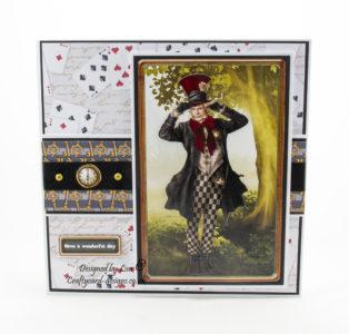 Handmade card using Journey To Wonderland match it cd-rom and Journey To Wonderland Mad Hatter match it pad