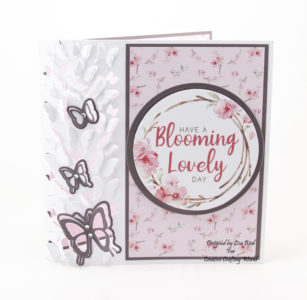 Handmade card using Blossoms in the Breeze paper collection and die collection called Blissful Butterflies from Creative Crafting World