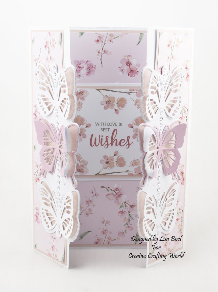 Handmade gatefold card using Blossoms in the Breeze and new die collection called Blissful Butterflies