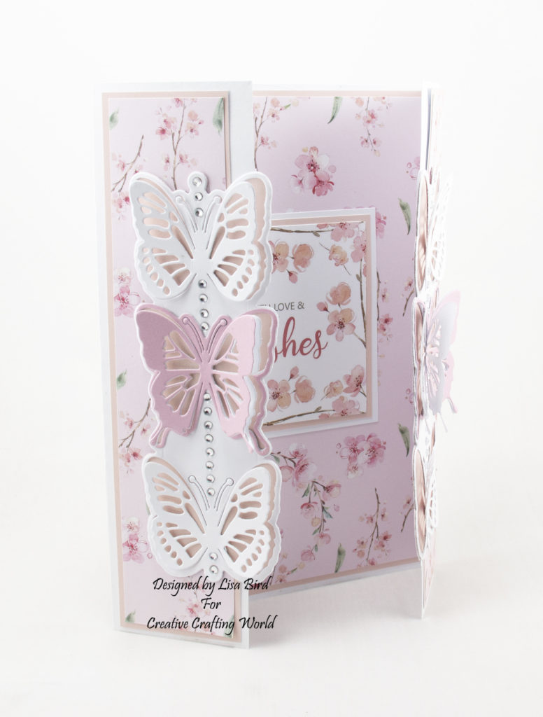 Side view of Handmade gatefold card using Blossoms in the Breeze and new die collection called Blissful Butterflies