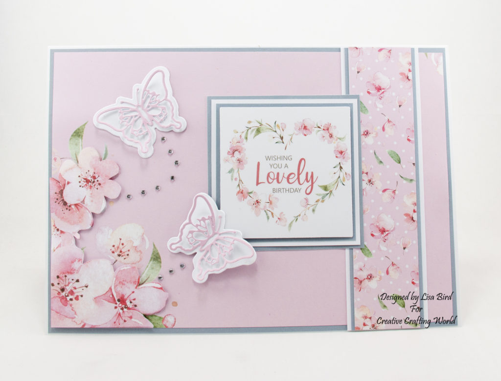 handmade card has been created using Blossoms in the Breeze paper collection and beyond border die collection called Blissful Butterflies