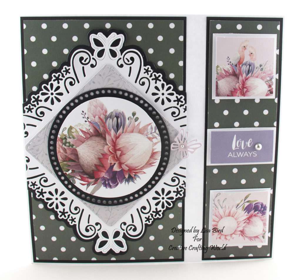 My second handmade card today has been created using The Paper Tree Festival Of Flowers paper collection from Creative Crafting World.