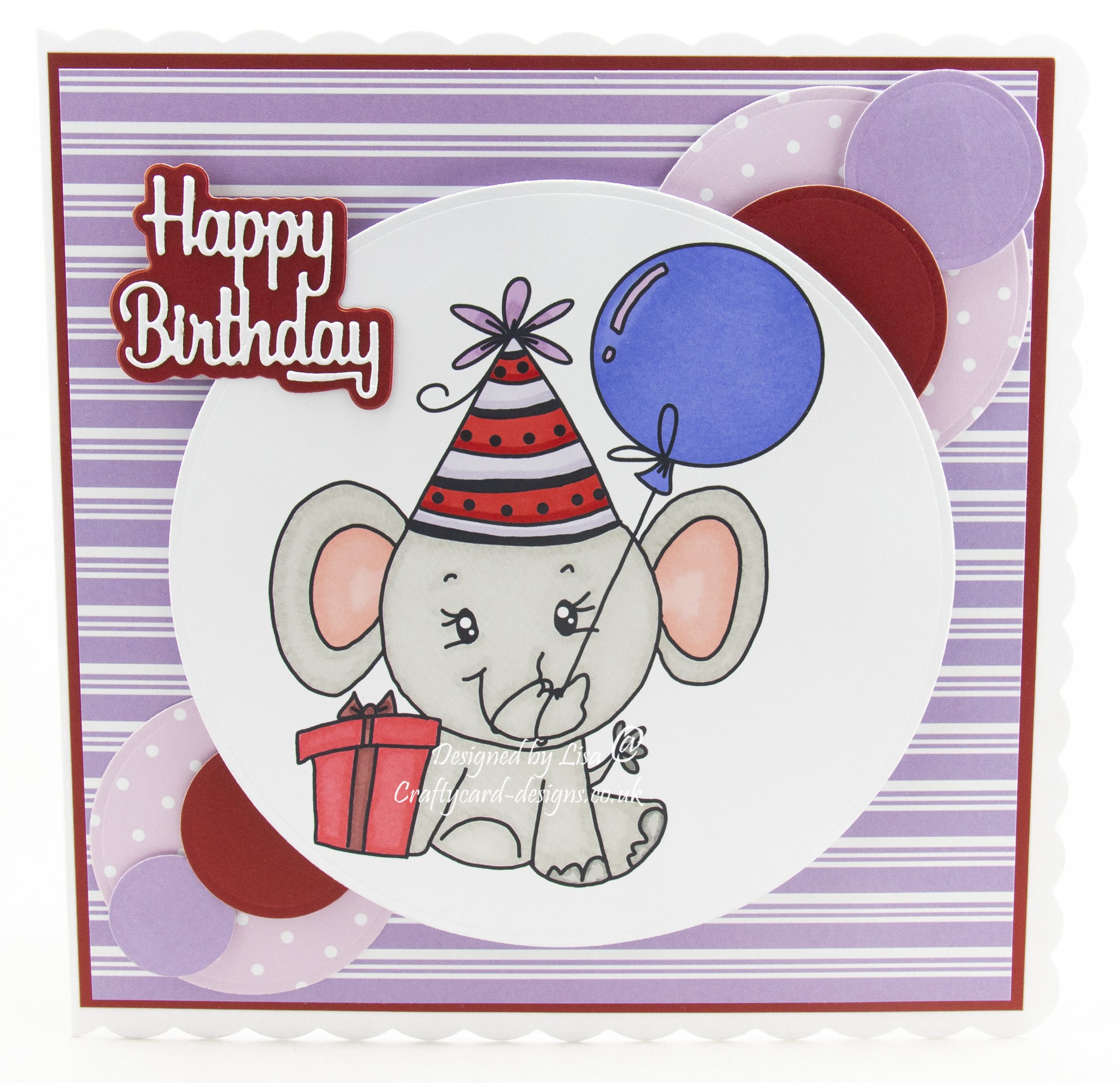 Handmade card using digi image from Bugaboo Stamps called Simple Cute Birthday Elephant