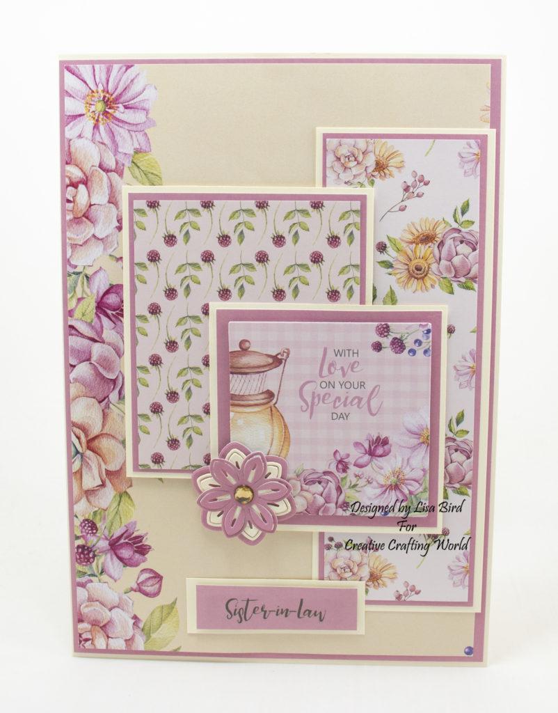 Handmade card created using Grandma's Garden from Creative Crafting World.