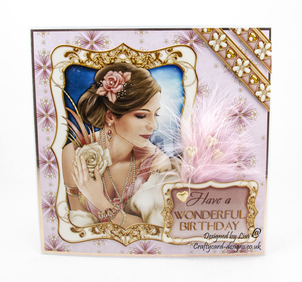 Handmade card created using Art Deco Decadence paper collection from Debbi Moore Designs.