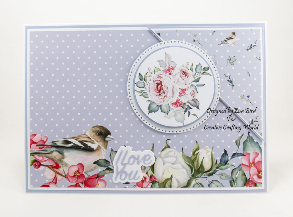 Handmade card using morning whispers paper collection and Flower garden die collection