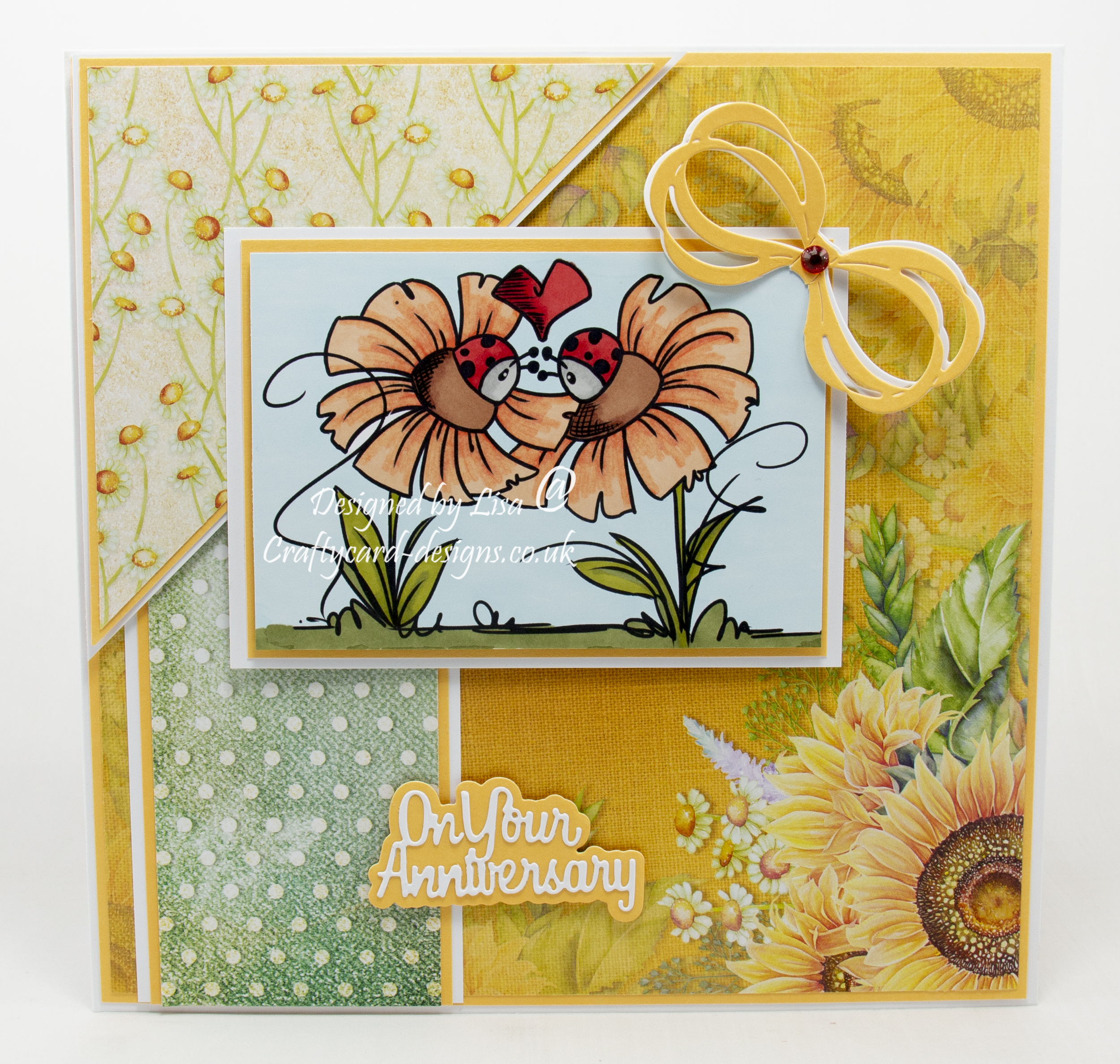 Handmade card using a digi image from Bugaboo Stamps called Flower Ladybug Love
