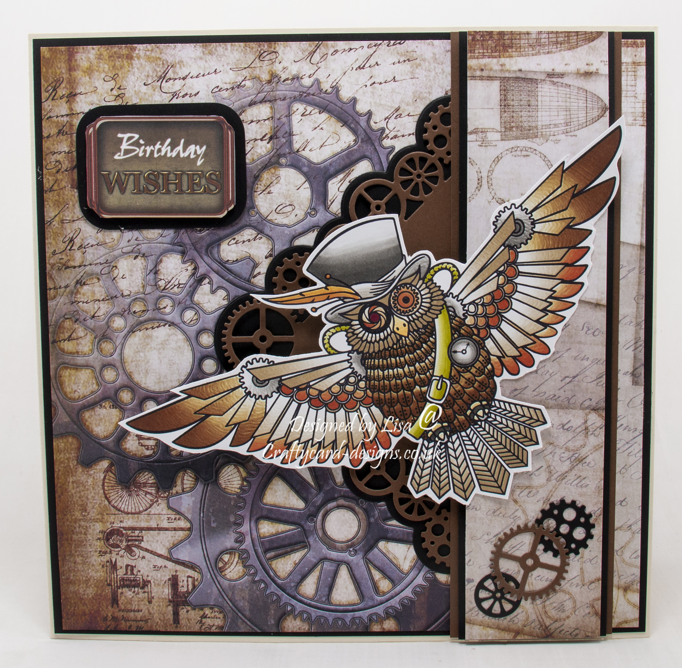 For my card I have used a digi image from The Art And Creations Of Lauren C Waterworth called Steampunk Owl