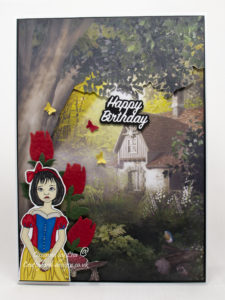 Handmade card using a digi image from Ike's Art called Snow White