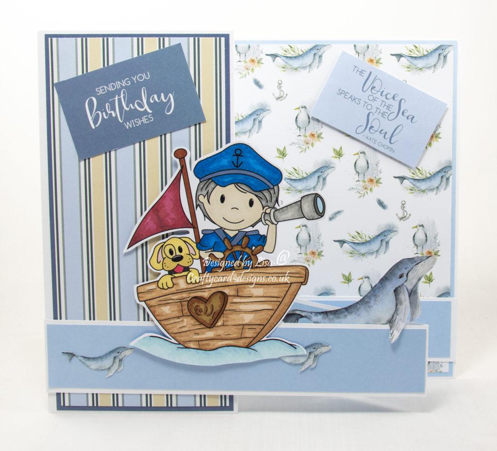 Handmade card using a digi image from Paper nest Dolls called Captain Owen