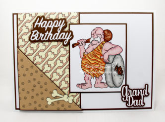 Handmade card using digi image from Dr. Digi's called Caveman Klob