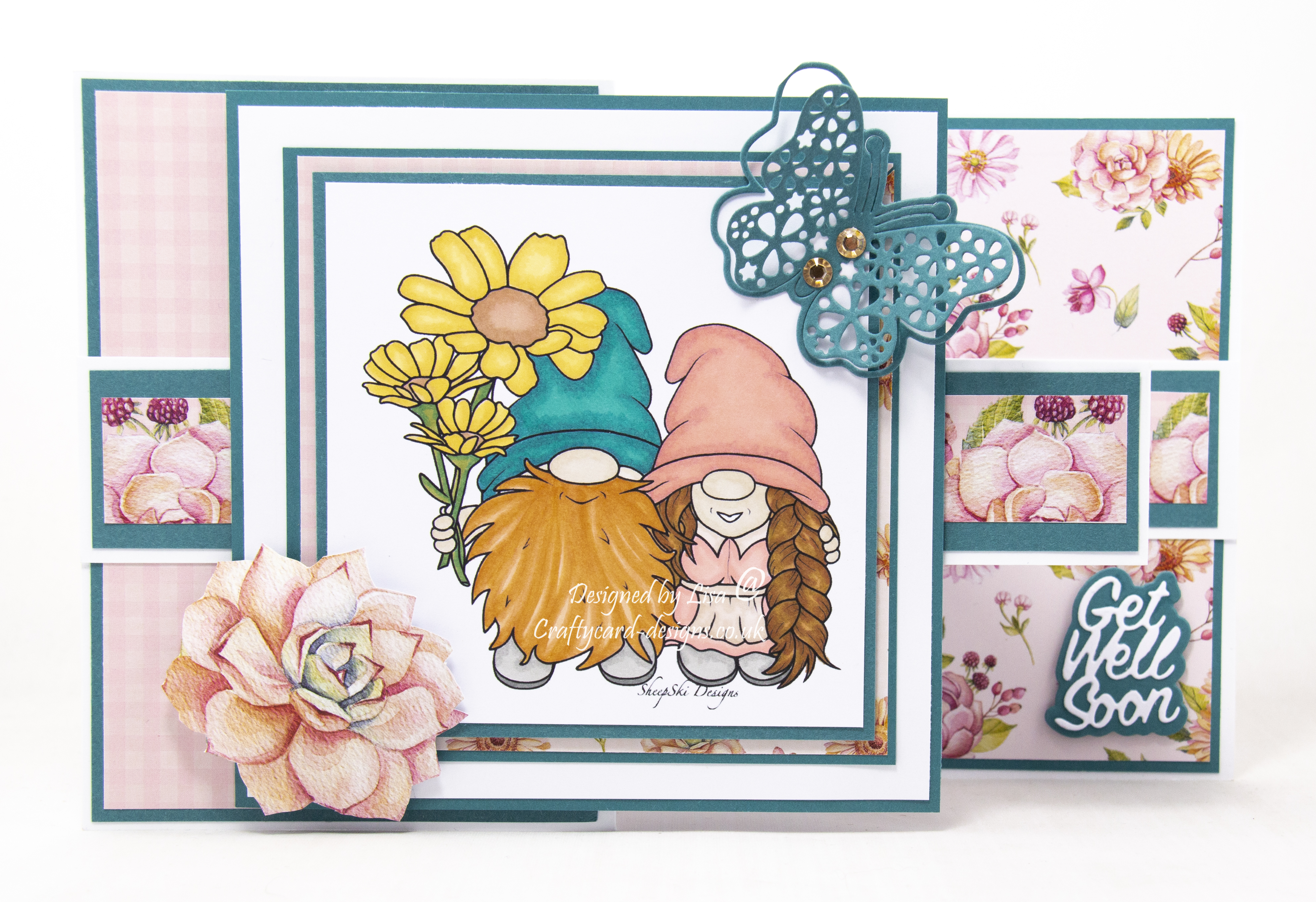 Handmade card using image from SheepSkiDesigns called Giant Daises