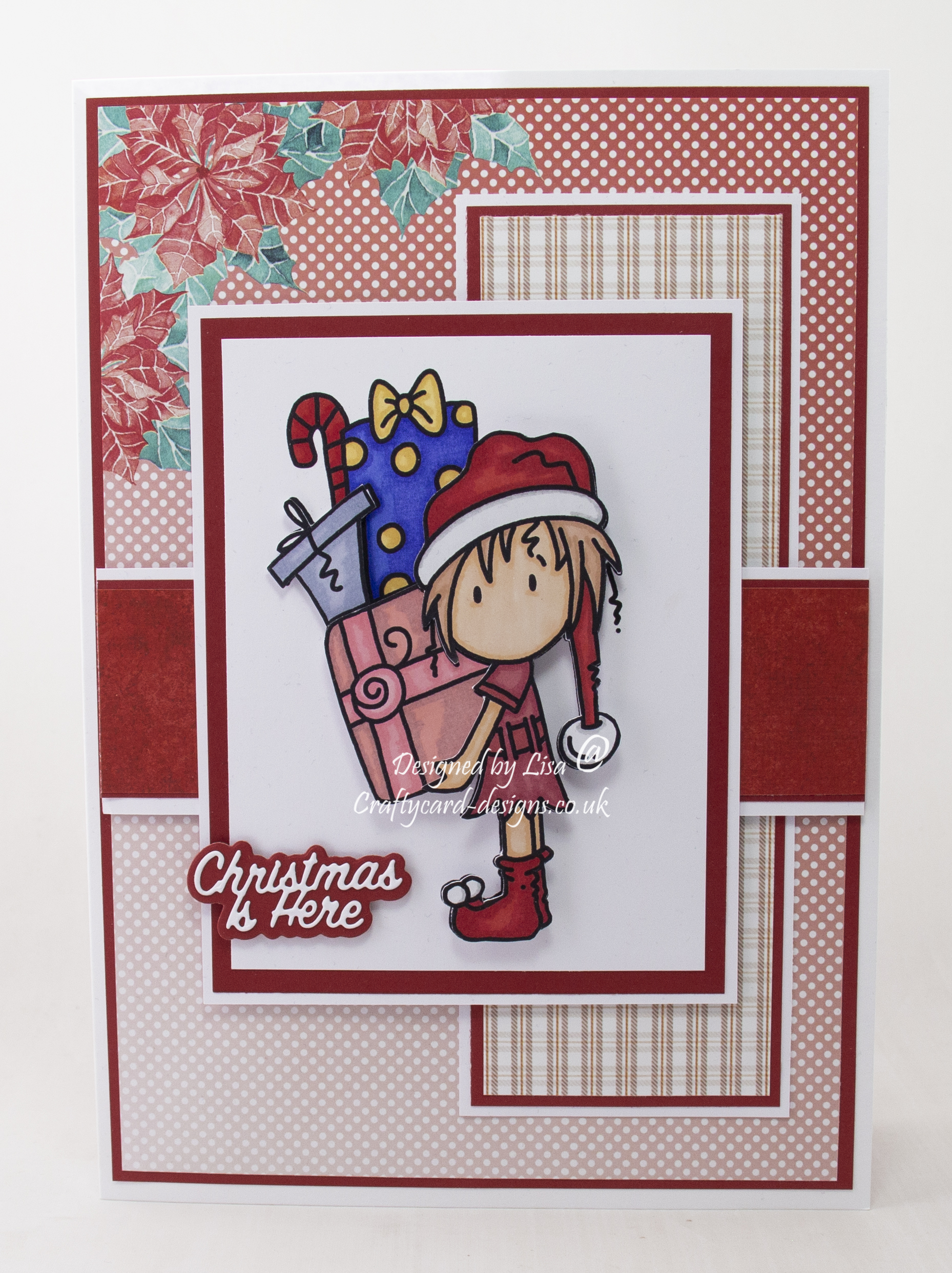 Handmade card using digi image from Bugaboo Stamps called Deacon elf presents