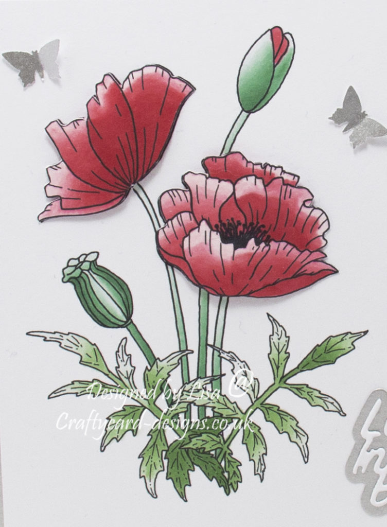 Handmade card using a digi image from Fred She Said called Poppies