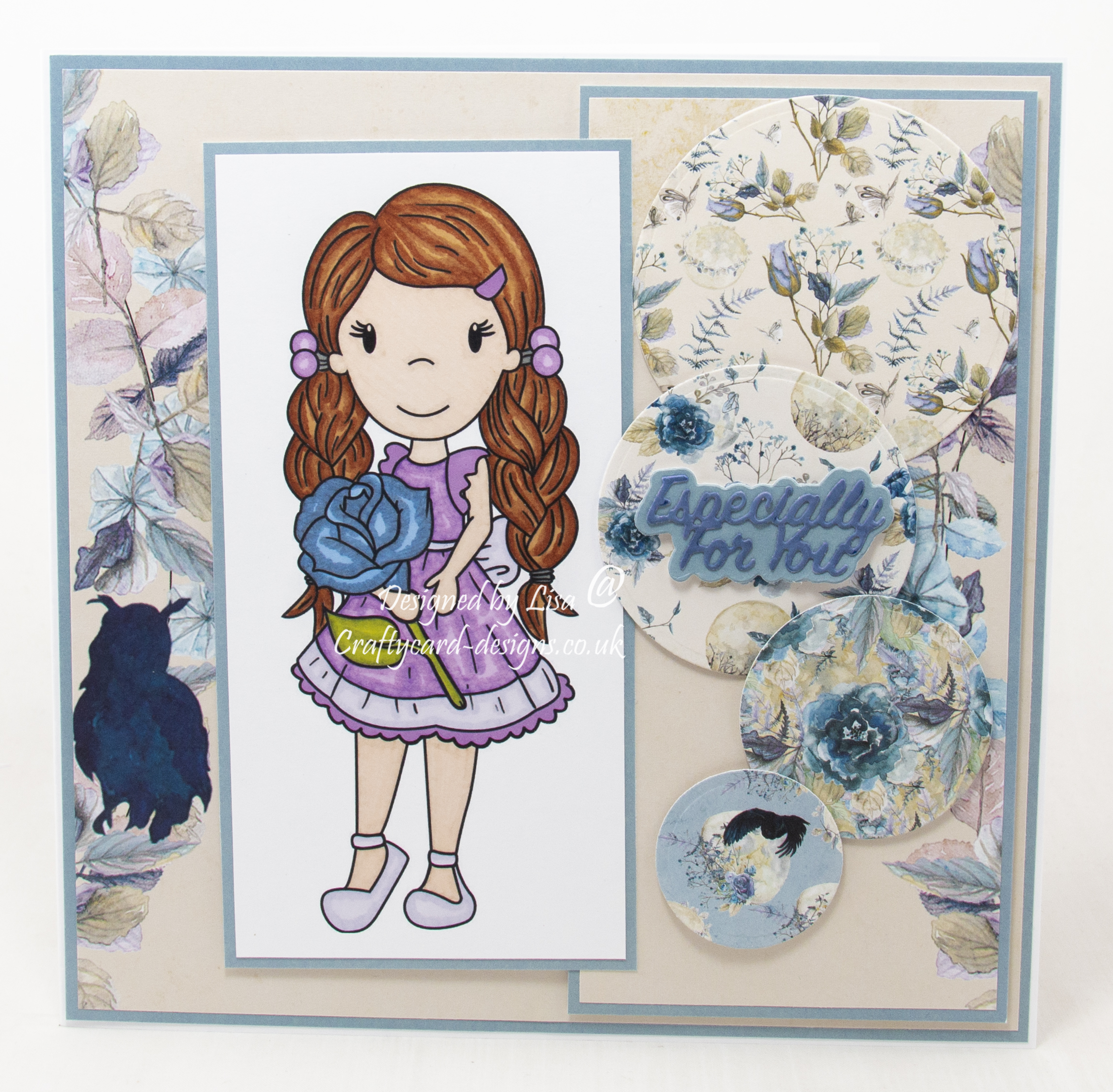 Handmade card using a digi image from Paper Nest Dolls called Avery With Rose