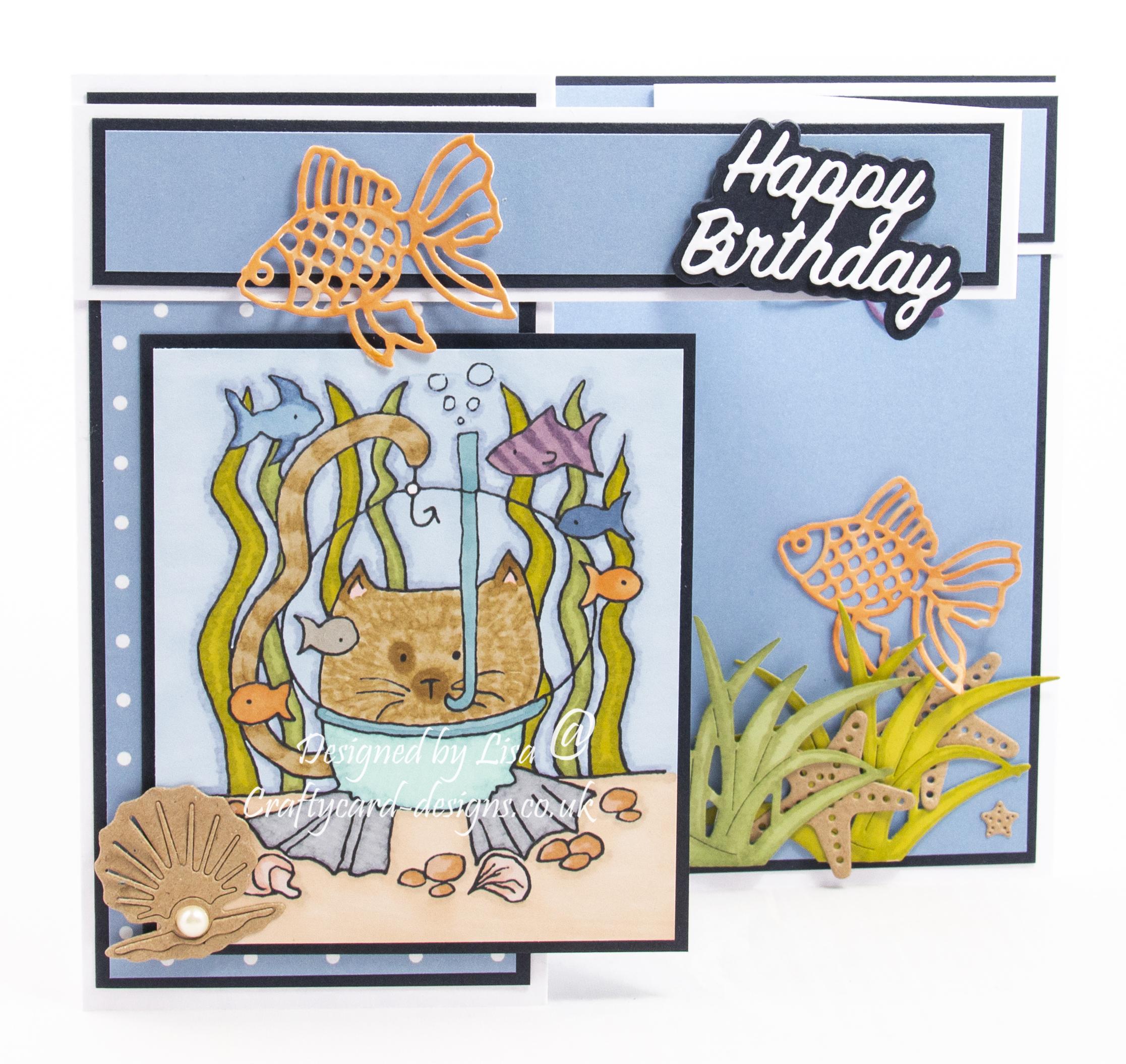 Handmade card using a digi image from Eeker Knitty Kitty Digis called Deep Sea Diver
