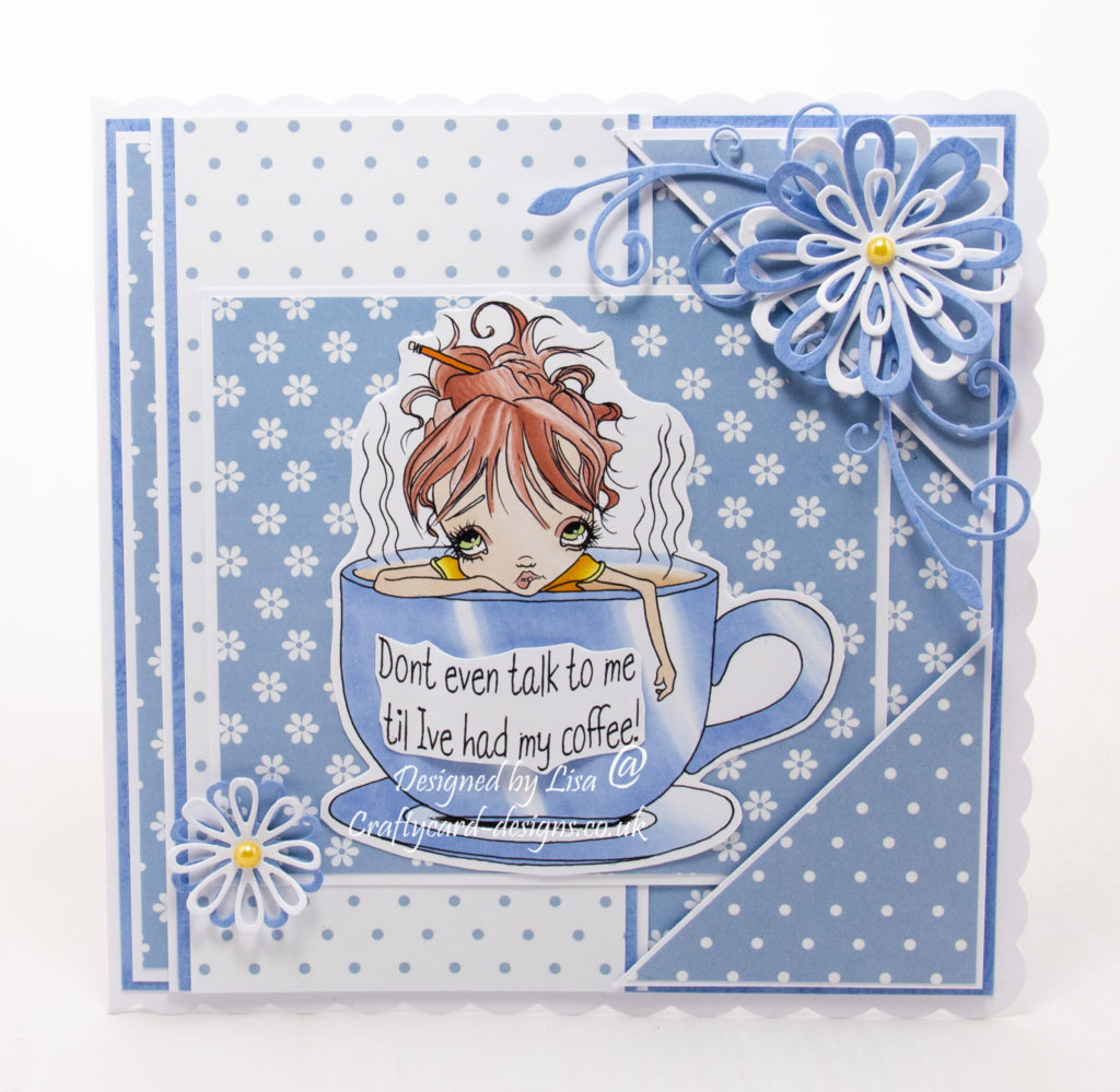 Handmade card using  digi image from Oddball Art called Monday Mornings Frazzled Fran Needs Her Coffee.