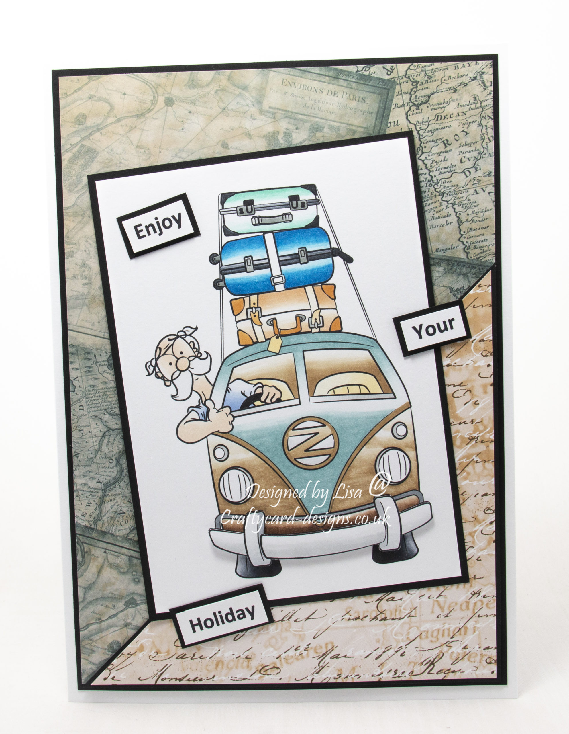 Handmade card using a digi image from Dr. Digis House Of Stamps called Summer Holiday.