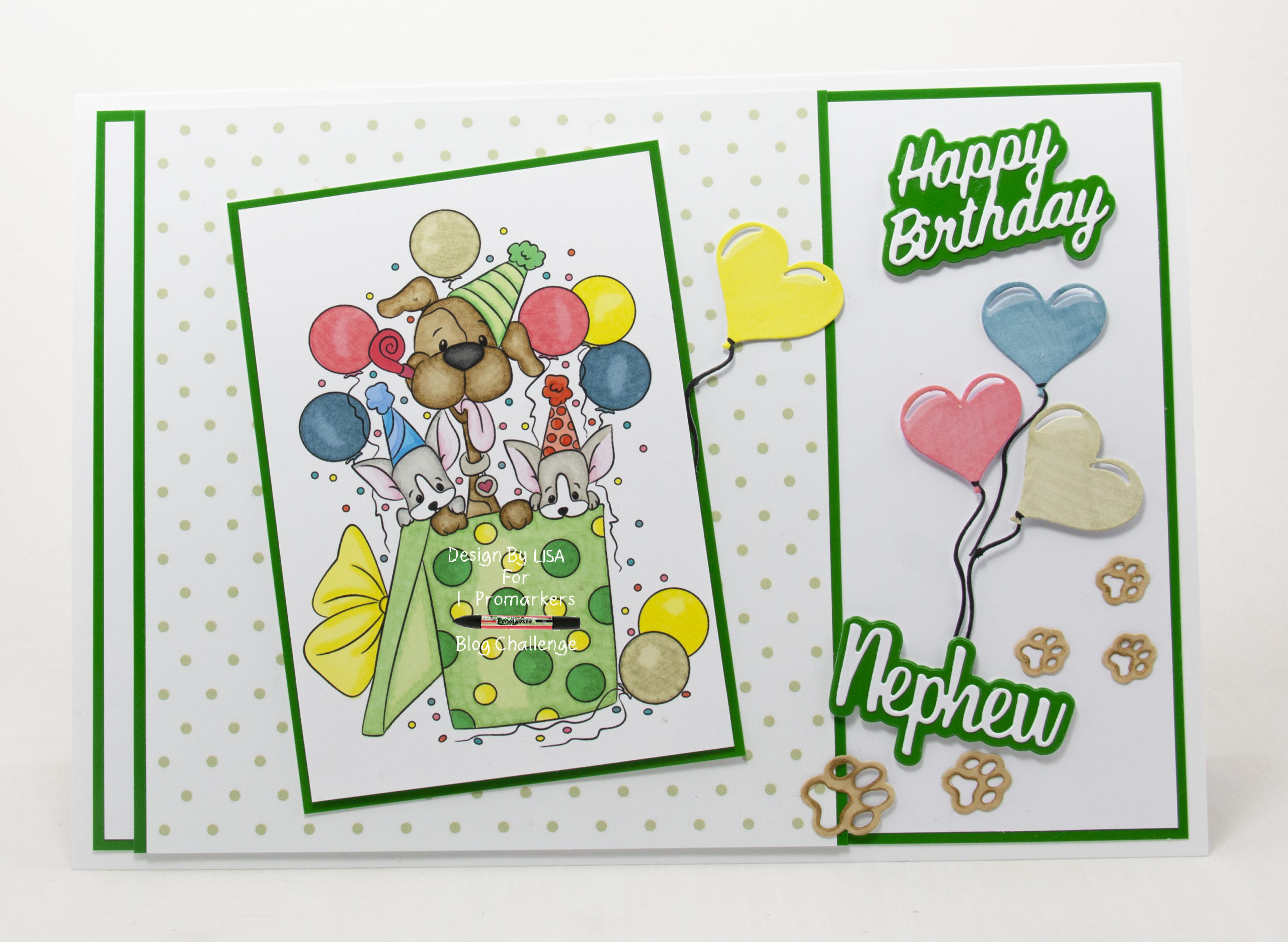 Handmade cards using a digi image from Digi Doodles Studios called Party Pups