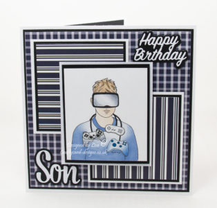 handmade card has been created using a digi image from SheepSki Designs called Gaming Dude