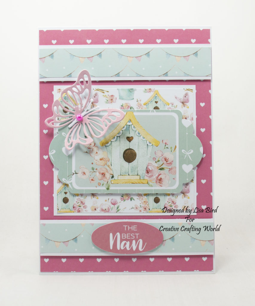 handmade card has been created using a paper collection called Springtime Pals