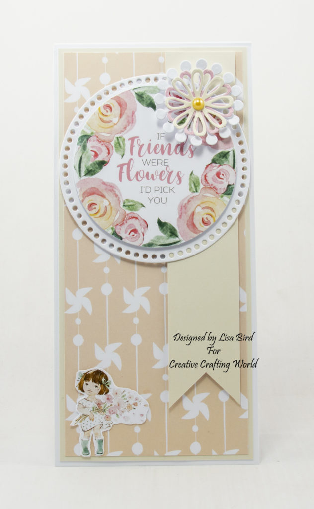 This handmade card has been created using a paper collection called Springtime Pals from The Paper Tree range at Creative Crafting World.