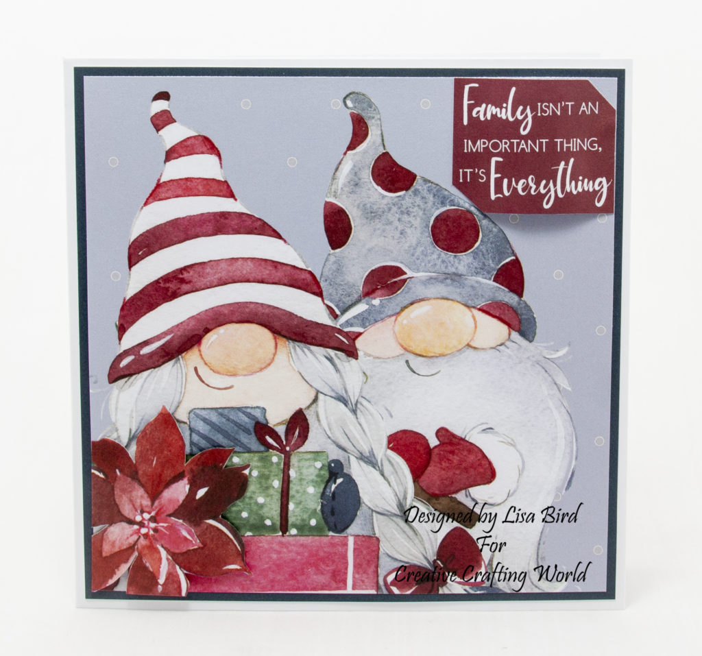 Today's handmade card has been created using a Paper Boutique paper collection from Creative Crafting World called Winter Gnomes.