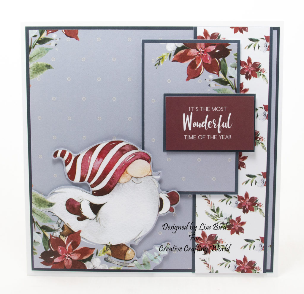 handmade card has been created using a Paper Boutique paper collection from Creative Crafting World called Winter Gnomes.