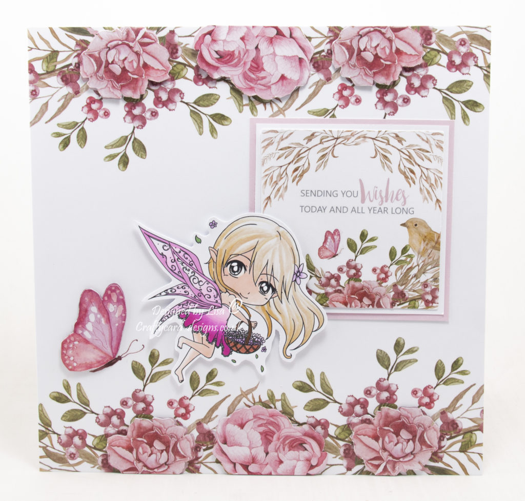 Handmade card using a digi image from Crafty Sentiments Designs called Flora.