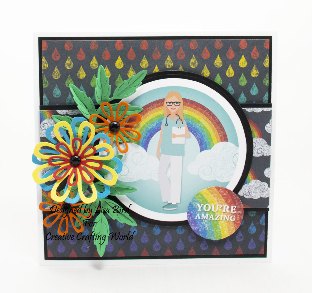 handmade card has been created using a paper collection called Hope and Sunshine from Creative Crafting World.