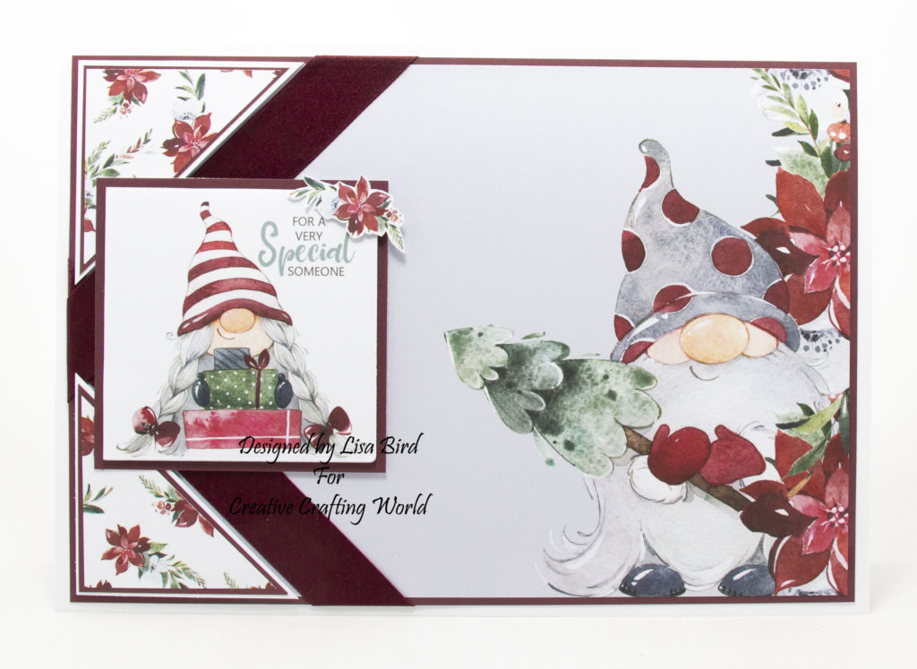 handmade card has been created using a Paper Boutique paper collection from Creative Crafting World called Winter Gnomes