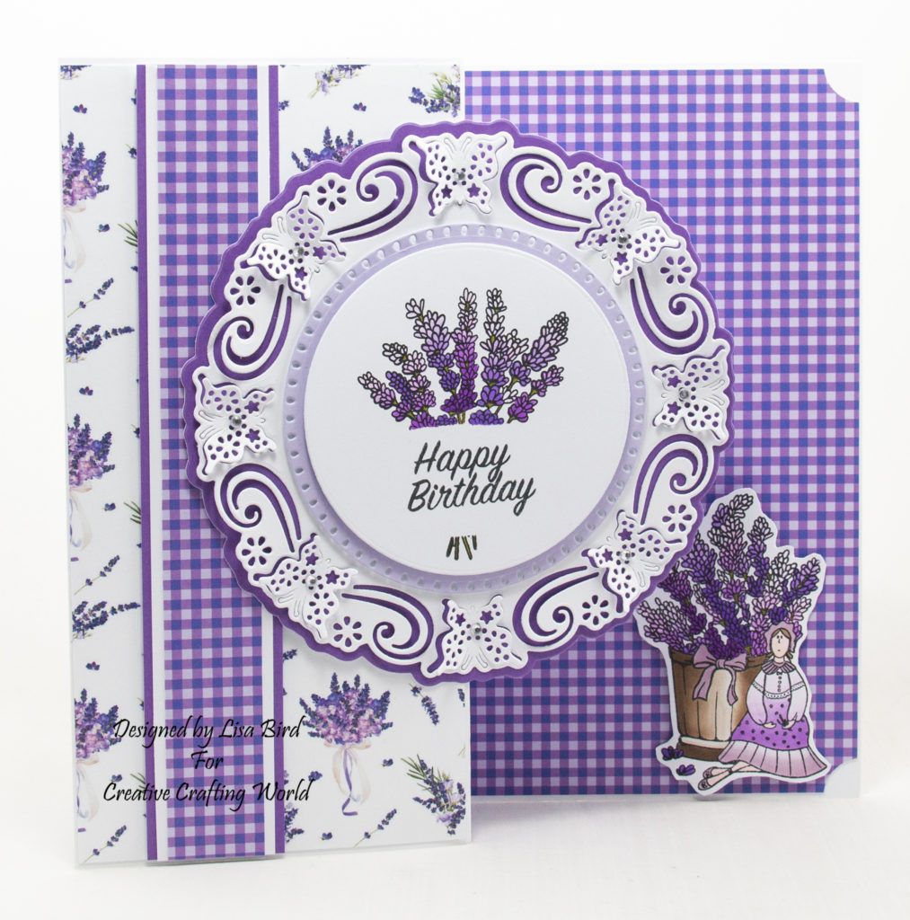 handmade card has been created using a paper collection and stamp collection called Lavender Fields