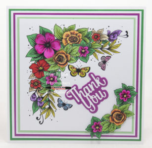 Handmade card using a digi image from Bugaboo Stamps called Butterfly Corner