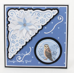 handmade card has been created using a Paper Boutique paper collection and beyond corner die collection from Creative Crafting World called Winter Wonder.