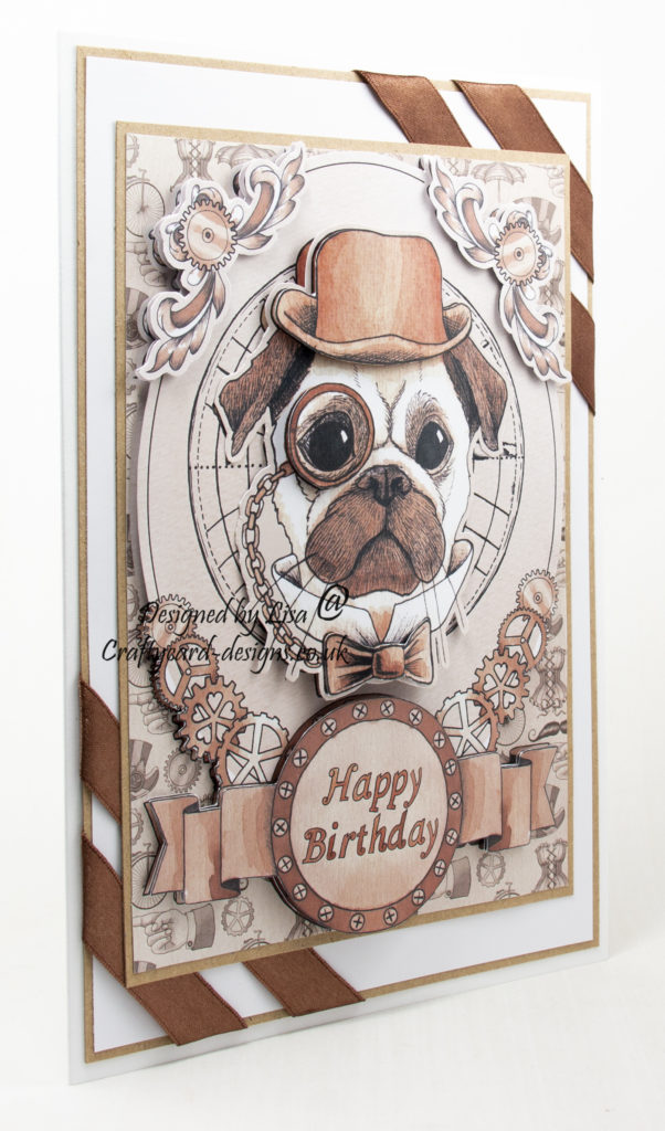 handmade card has been created using a design from Craftsuprint called Steampunk Pug