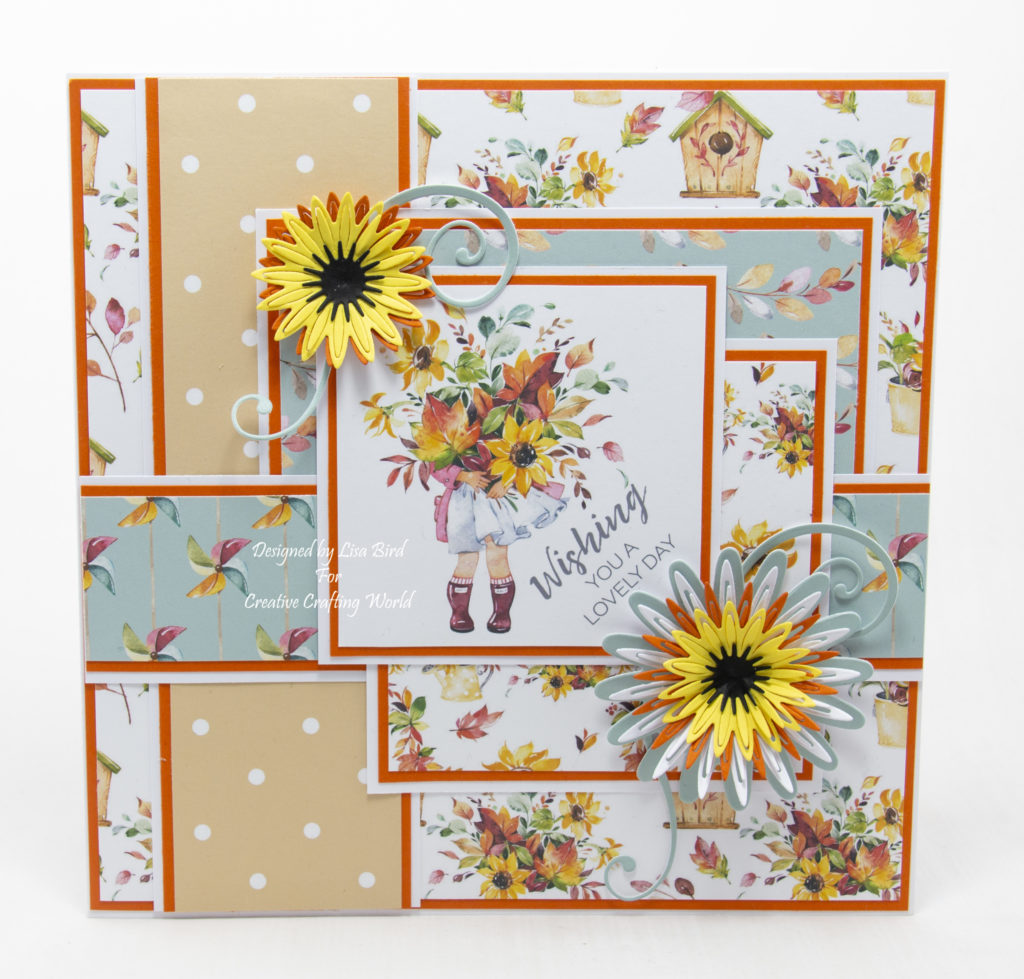 handmade card has been created using a paper collection called Autumn Pals from The Paper Tree range