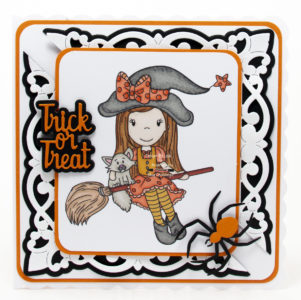 Handmade card using a digi image from Paper Nest Dolls called Witch Ellie Riding Broom.