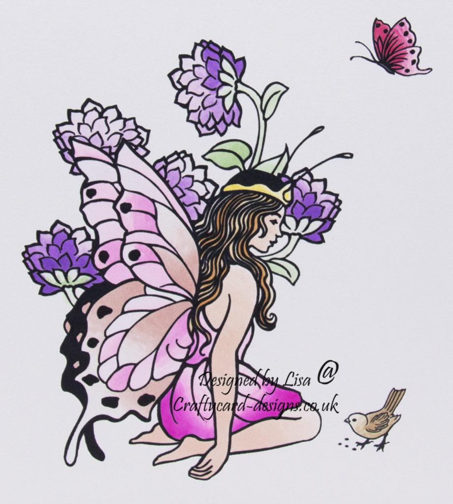 Handmade card using a digi image design from Craftsuprint called Kneeling Fairy