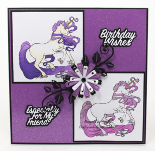 handmade card has been created using a digi image design from Craftsuprint called Unicorn Digital Stamp