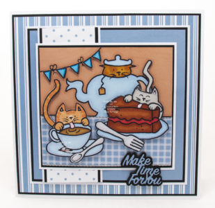 Handmade card using a digi image from Eekers - Knitty Kitty called Kit T and Cake