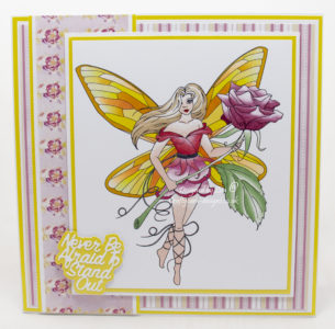 Handmade card using a digi image design from Craftsuprint called Rose Fairy Stamp