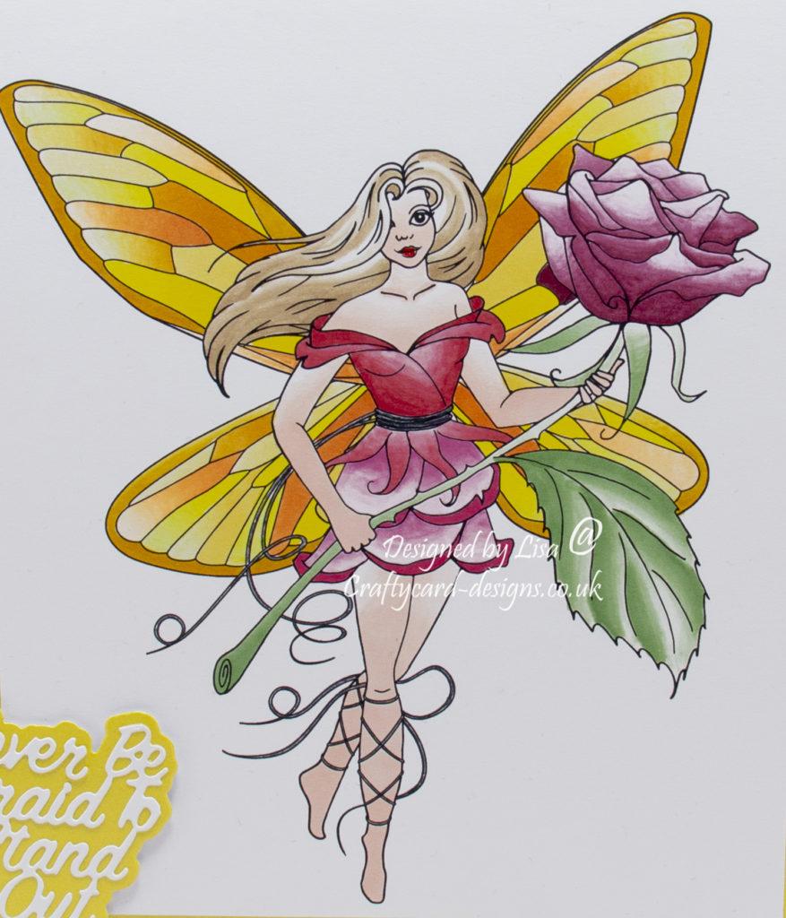 Handmade card using a digi image design from Craftsuprint called Rose Fairy Stamp