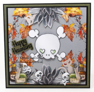 Handmade card using a digi image from Oddball Art Co called creepy cute skull