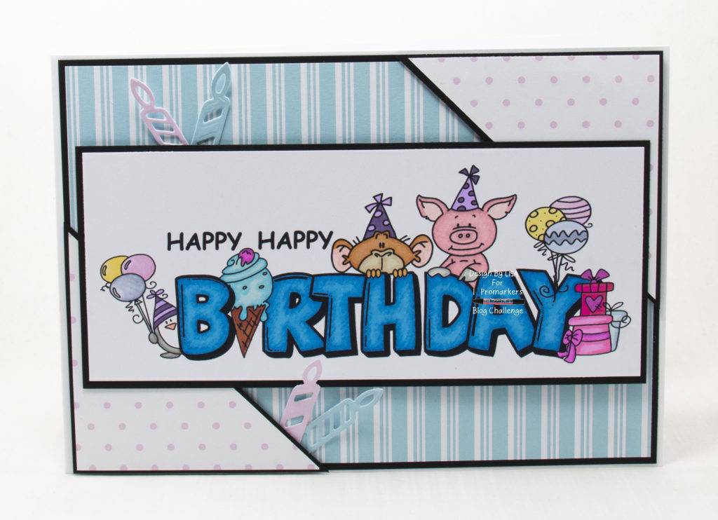 Handmade card using a  digi image from Bugaboo Stamps called Birthday Critters