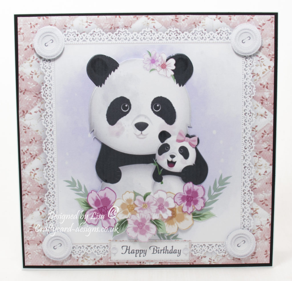 handmade card has been created using a digi image design from Craftsuprint called Gorgeous Panda Family