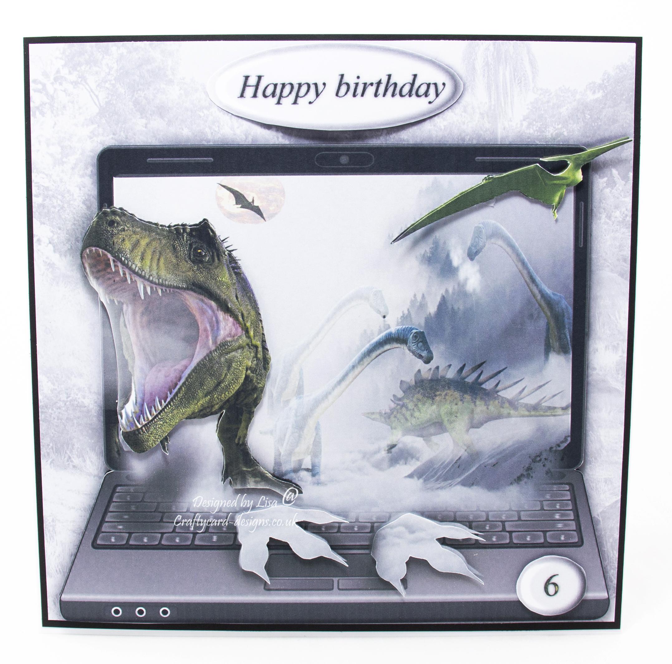 Handmade card using an image sheet from from Craftsuprint called Dinosaur Winter