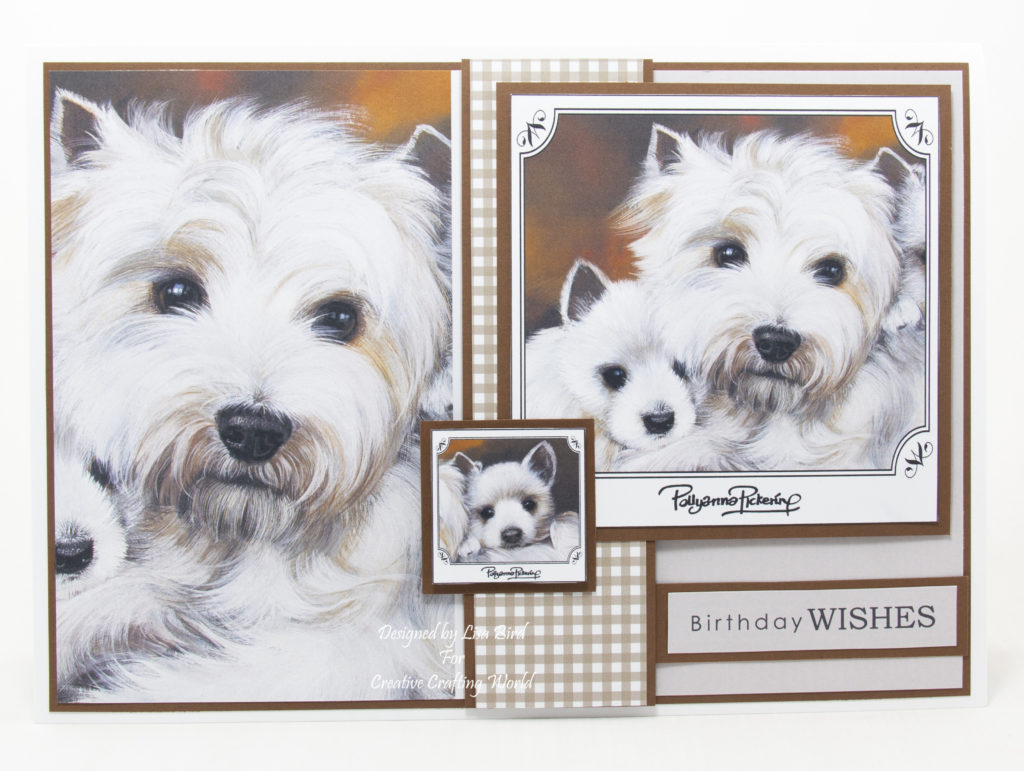 Handmade card has been created using a new dvd-rom called Family Portraits – Dogs Volume II