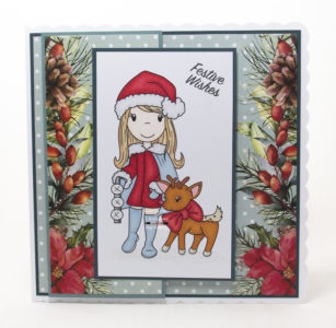 Handmade card using a digi image from Paper Nest Dolls called Holiday Friends