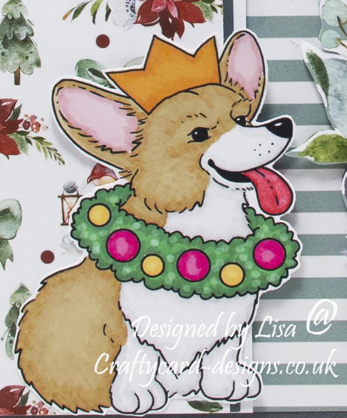Handmade card using a Christmas Corgi - Enjoy The Holiday Season